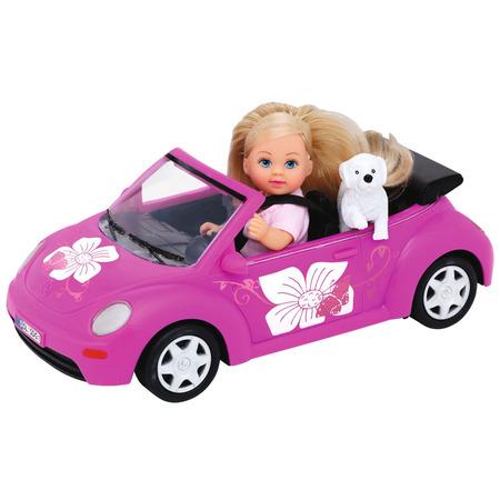 Papusa Simba Evi Love 12 cm Evi's Beetle cu masina, catelus si accesorii*
