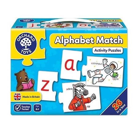 Joc educativ - puzzle in limba engleza invata alfabetul prin asociere alphabet match, Orchard Toys*
