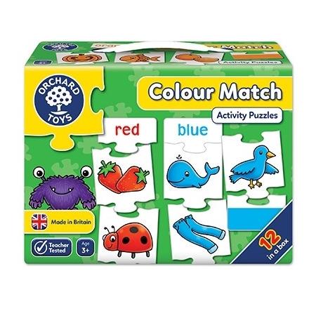Joc educativ - puzzle in limba engleza invata culorile prin asociere colour match, Orchard Toys*