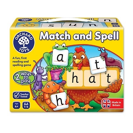 Joc educativ in limba engleza potriveste si formeaza cuvinte  match and spell, Orchard Toys*