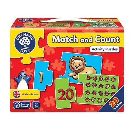 Puzzle potriveste si numara de la 1 la 20  match and count, Orchard Toys*