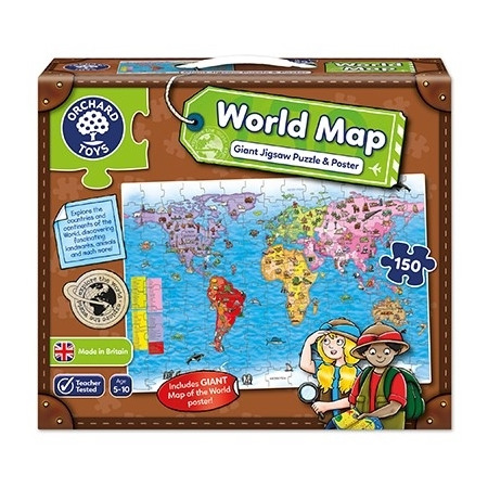 Puzzle si poster harta lumii (limba engleza 150 piese) world map puzzle & poster, Orchard Toys*