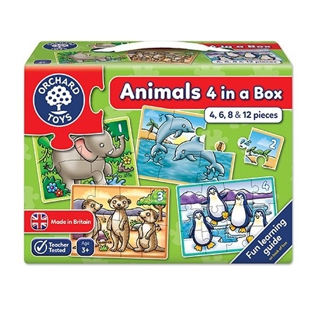 Set 4 puzzle animale (4 6 8 & 12 piese) animals four in a box, Orchard Toys*