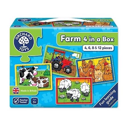 Set 4 puzzle la ferma (4 6 8 si 12 piese) farm four in a box, Orchard Toys*