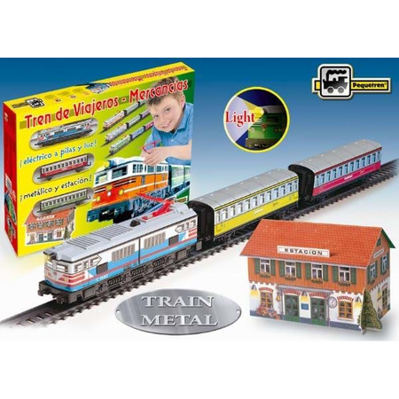 Trenulet electric calatori cu far si macheta (colorat), Pequetren*