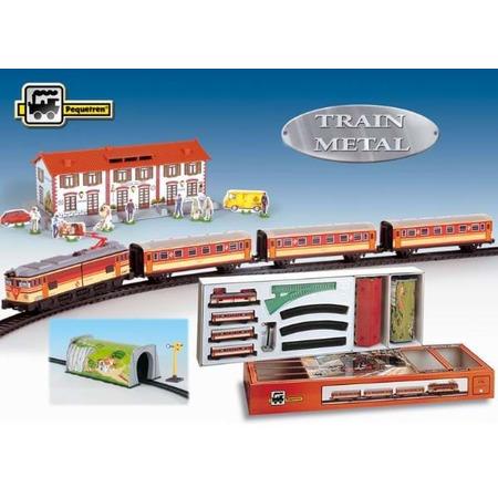 Trenulet electric calatori, cu statie si tunel, Pequetren*