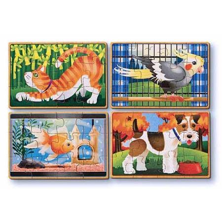 Set 4 puzzle lemn in cutie Animale de companie Melissa and Doug*