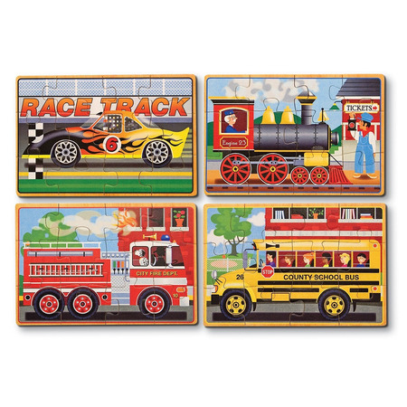 Set 4 puzzle lemn in cutie Vehicule Melissa and Doug*