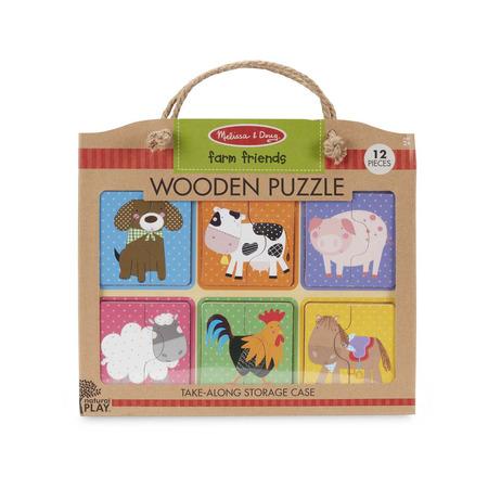 Primul meu puzzle eco din lemn Prieteni de la Ferma - Melissa & Doug*