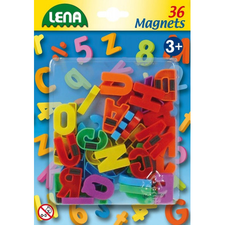 Set litere mari magnetice Lena multicolore 36 piese 3 cm lungime*