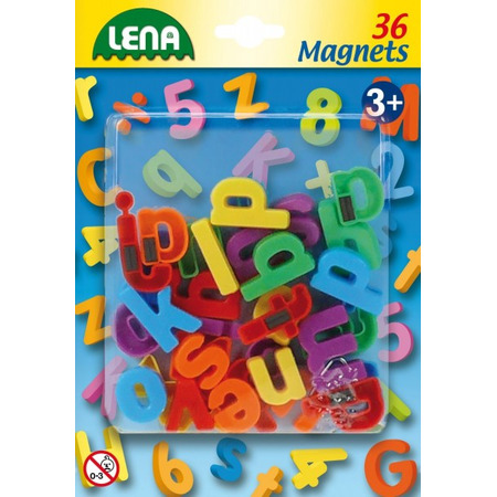 Set litere mici magnetice Lena multicolore 36 piese 3 cm lungime*