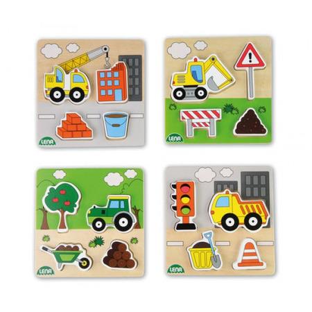 Puzzle din lemn Lena pentru copii 4 piese mari tematic Vehicule*
