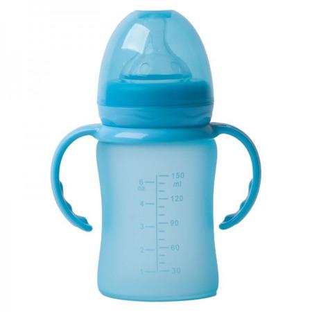 Biberon termo din sticla acoperita de silicon cu indicator de temperatura Bo Jungle 150 ml albastru*