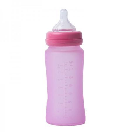 Biberon termo din sticla acoperita de silicon cu indicator de temperatura Bo Jungle 240 ml roz*