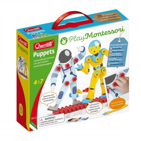 Joc educativ pentru copii Quercetti Play Montessori 0614 Puppets Astronauti cu suruburi si piulite si suport expunere*