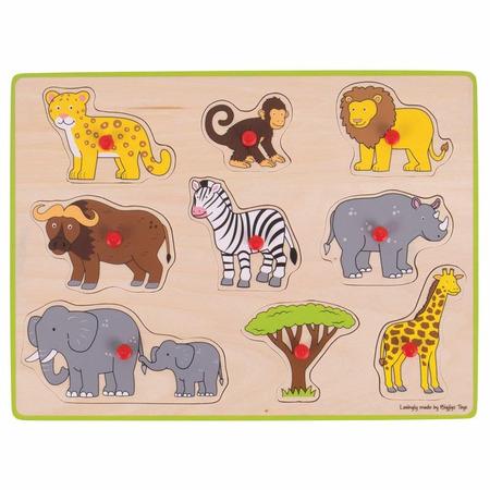 Puzzle din lemn incastru - Safari, Bigjigs*