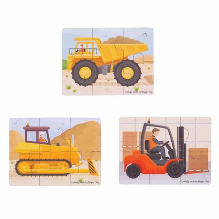 Set 3 puzzle din lemn - Vehicule pentru constructii, Bigjigs*
