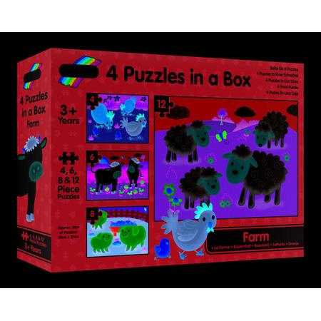 Set 4 puzzle-uri Animale de la ferma (4, 6, 8, 12 piese), Galt*