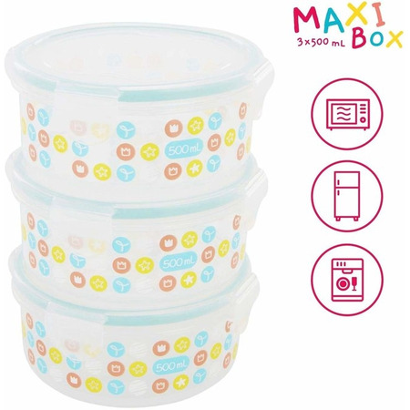 Set 3 boluri ermetice maxi 500 ml pentru pastrarea hranei, Badabulle*
