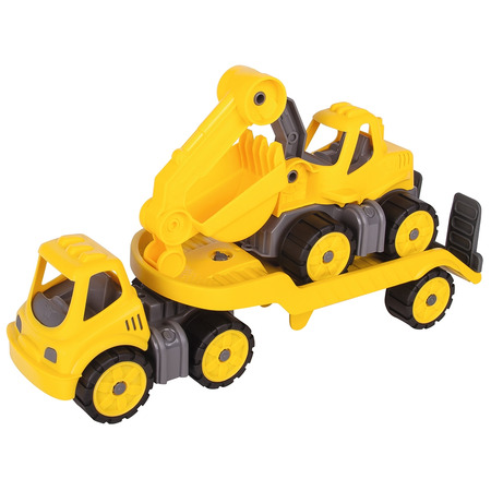 Set Big Camion cu remorca si excavator Power Worker Mini Transporter with Digger*