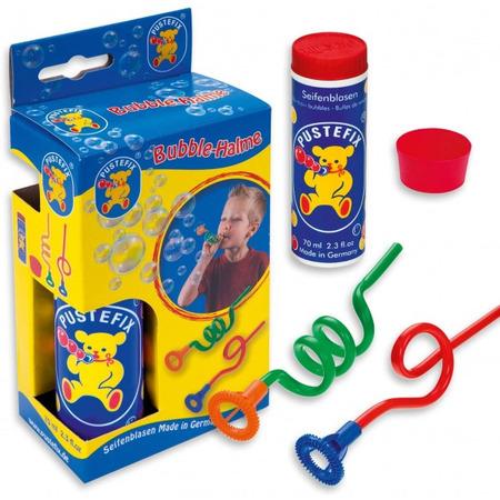 Set baloane de sapun Pustefix cu 2 paie ondulate tavita si tub cu 70 ml de solutie*