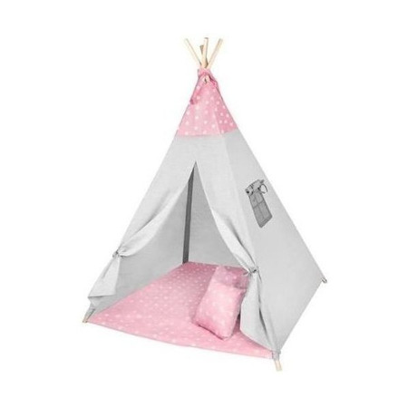 Cort copii XXL Teepee, Cort, Covoras, 3 Perne Iso Trade MY17243, roz/gri stelute*