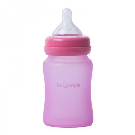 Biberon termo din sticla acoperita de silicon cu indicator de temperatura Bo Jungle 150 ml roz*