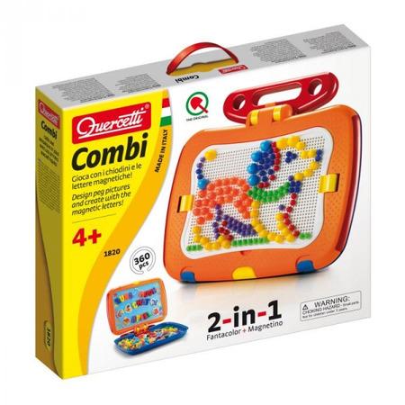 Tablita magnetica cu litere 2 in 1 cu piese mozaic si desene magnetice Quercetti pentru copii*