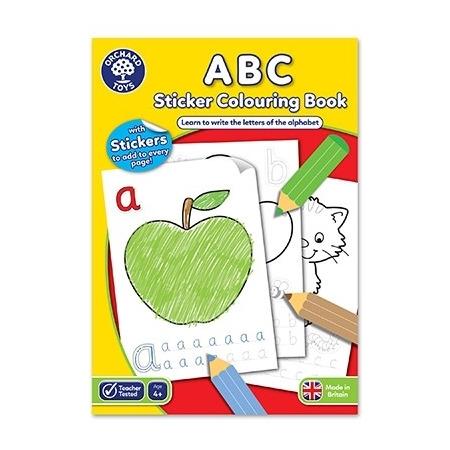 Carte de colorat cu activitati in limba engleza si abtibilduri abc, Orchard Toys*