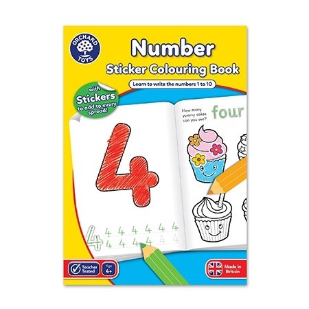 Carte de colorat cu activitati in limba engleza si abtibilduri invata numerele number, Orchard Toys*
