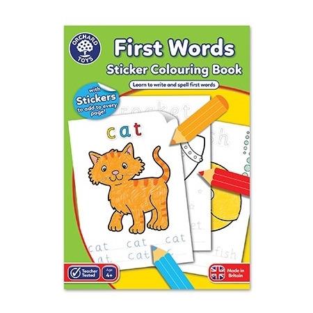 Carte de colorat cu activitati in limba engleza si abtibilduri primele cuvinte first words, Orchard Toys*