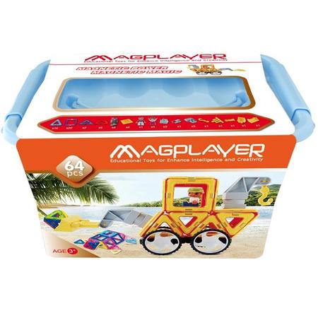 Joc de constructie magnetic - 64 piese, Magplayer*
