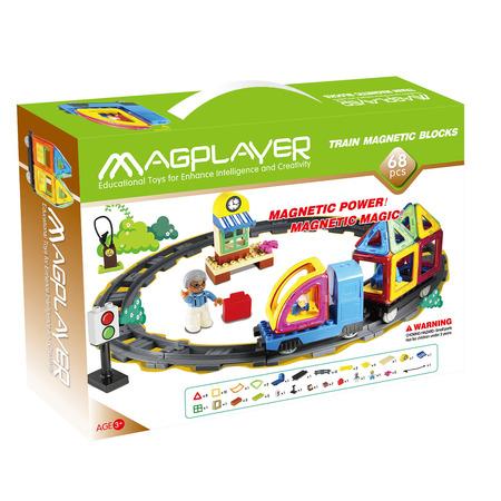 Joc de constructie magnetic - 68 piese, Magplayer*