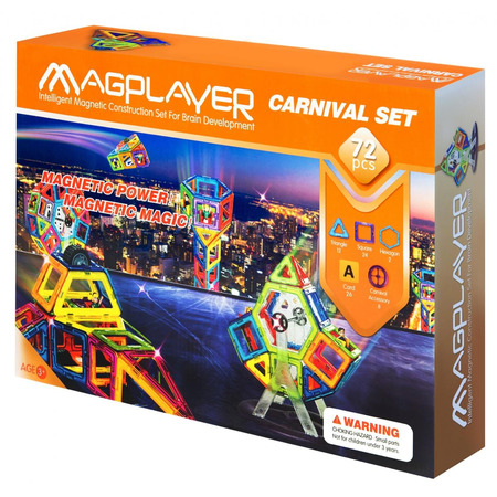 Set de constructie magnetic - 72 piese, Magplayer*