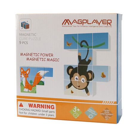 Puzzle cubic magnetic - Animalute vesele, Magplayer*