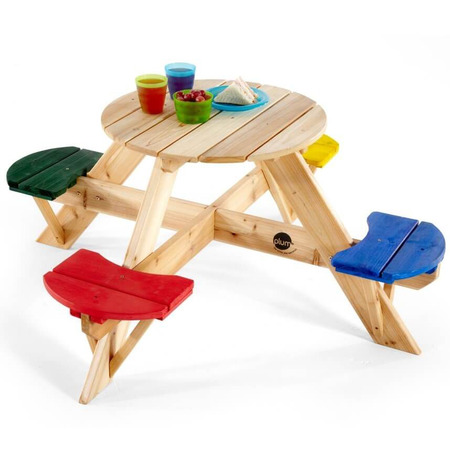 Masa de joaca din lemn cu scaune colorate pentru 4 copii Plum*