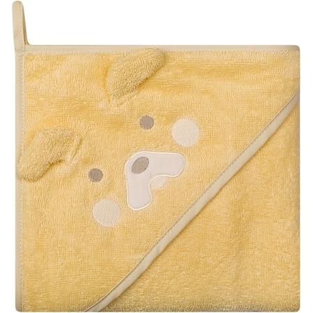 Prosop de baie cu gluga imprimeu animal 100 x 100 cm Womar Zaffiro AN-OZ-02, galben*