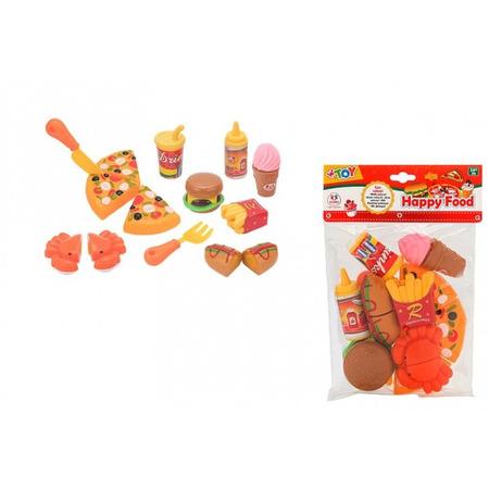 Set de joaca bucatarie Fast Food Globo WToy alimente cu velcro 15 piese*