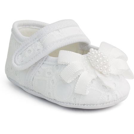Balerini bebe albi cu dantela si perlute Pimpolho PP16045*