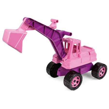Excavator gigant Lena din plastic cu cupa de 70 cm Roz*