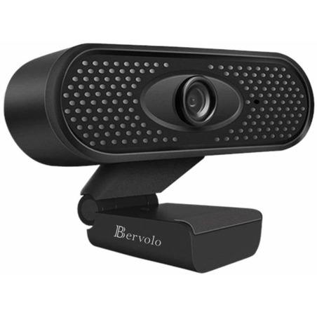 Camera Web optimizata pentru scoala, 1080P, Webcam 1920 x 1080 pixeli, microfon incorporat, FullHD, negru, Bervolo Uno®