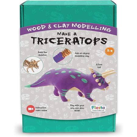 Kit constructie lemn si argila - Triceratops Fiesta Crafts FCT-2957*