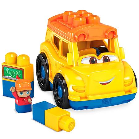 Set constructie Fisher Price Mega Blocks Autobuz scolar cu 6 piese*