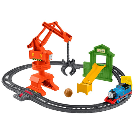 Set Fisher Price by Mattel Thomas and Friends Cassia Crane and Cargo sina cu locomotiva motorizata si vagon*