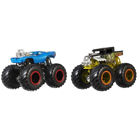 Set Hot Wheels by Mattel Monster Trucks Demolition Doubles Bone Shaker vs Rodger Dodger*