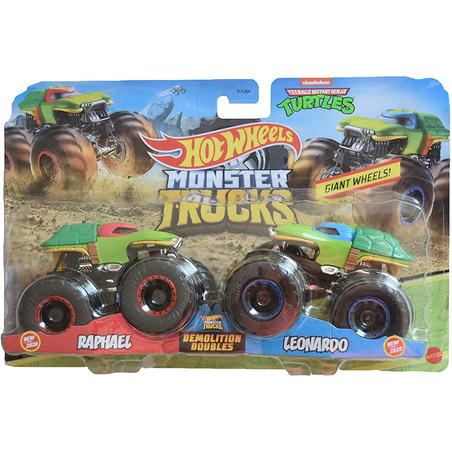 Set Hot Wheels by Mattel Monster Trucks Demolition Doubles Raphael vs Leonardo*