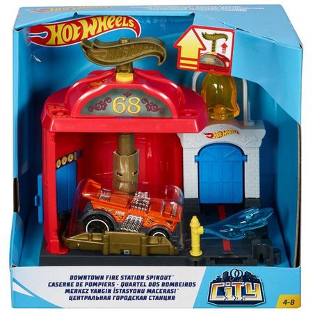 Pista de masini Hot Wheels by Mattel City Downtown Fire Station Spinout cu masinuta*