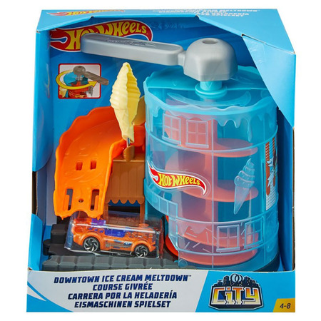 Pista de masini Hot Wheels by Mattel City Downtown Ice Cream Meltdown cu masinuta*