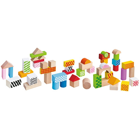 Jucarie Eichhorn Cuburi in galetusa Wooden Blocks 50 piese*
