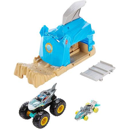 Pista de masini Hot Wheels by Mattel Monster Truck Pit and Launch Shark Wreak cu 2 masinute*